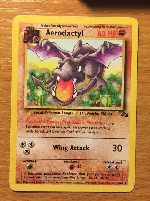 Pokemon Card Rare NM 16//62 AERODACTYL Fossil