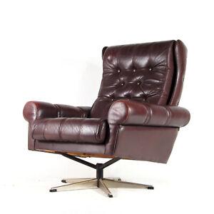 Retro-Vintage-Danish-Chrome-amp-Leather-Swivel-Lounge-Egg-Chair-Armchair-60s-70s