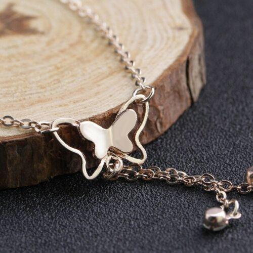Bracelet de pierna Colgante MARIPOSA tobilleras cadena de Pie de mujer oro plata