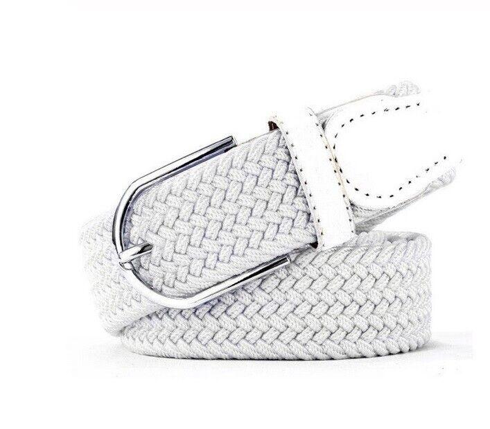 Gürtel Flechtgürtel Stoffgürtel elastisch stretch Jeans Gurt Geflochten Weiß