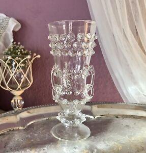 Antik-Pokalglas-Glaskunst-Pokal-Nuppen-mundgeblasen-edel-WUNDERSCHON-3-Henkel