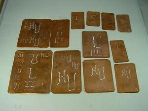 12-x-HU-alte-Merkenthaler-Monogramme-Kupfer-Schablonen-Stencils-Patrons-broder