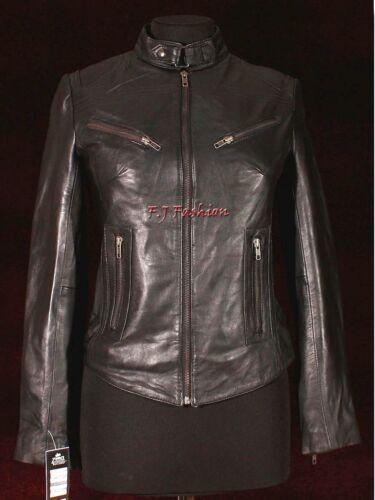Vrai Court Mouton Femme Dames Mode Noires Cuir Biker Nappa Veste Essence xaqwY1Ut