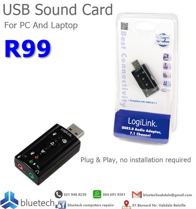USB Sound Card for PC and laptop, Bluetech Computers 021 948 8230