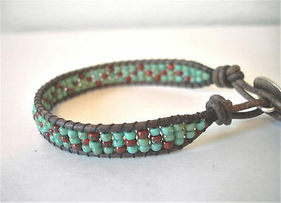 Southwestern Turquoise & Red Picasso Beaded Leather Wrap Bracelet Handcrafted