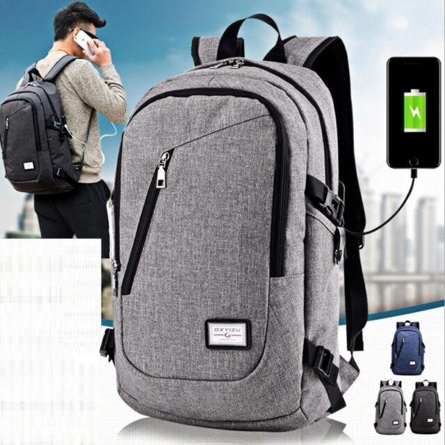 Anti-theft Mens Womens Laptop Backpack Travel School Bag + USB Charging Port NG