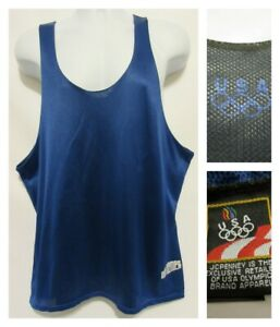 Vintage-USA-Olympic-Vented-Track-and-Field-Muscle-Tank-Reversible-Black-Blue-XL