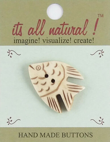 Angel Fish Antique Ivory Handmade Natural Bone Buttons 30x38mm