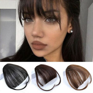 Ladies Synthetic Hair Clip In Front Hair Bangs Hairpieces Thin Air Neat Bangs Ebay