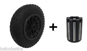 "PU 14"" BLACK Puncture Proof Solid 3.50-8 wheelbarrow wheel 20MM NEEDLE BEARINGS"