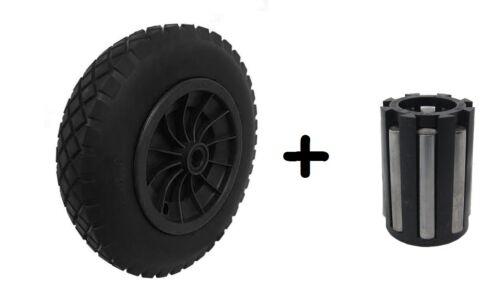 "PU 14"" BLACK Puncture Proof Solid 3.50-8 wheelbarrow wheel + 1"" NEEDLE BEARINGS"