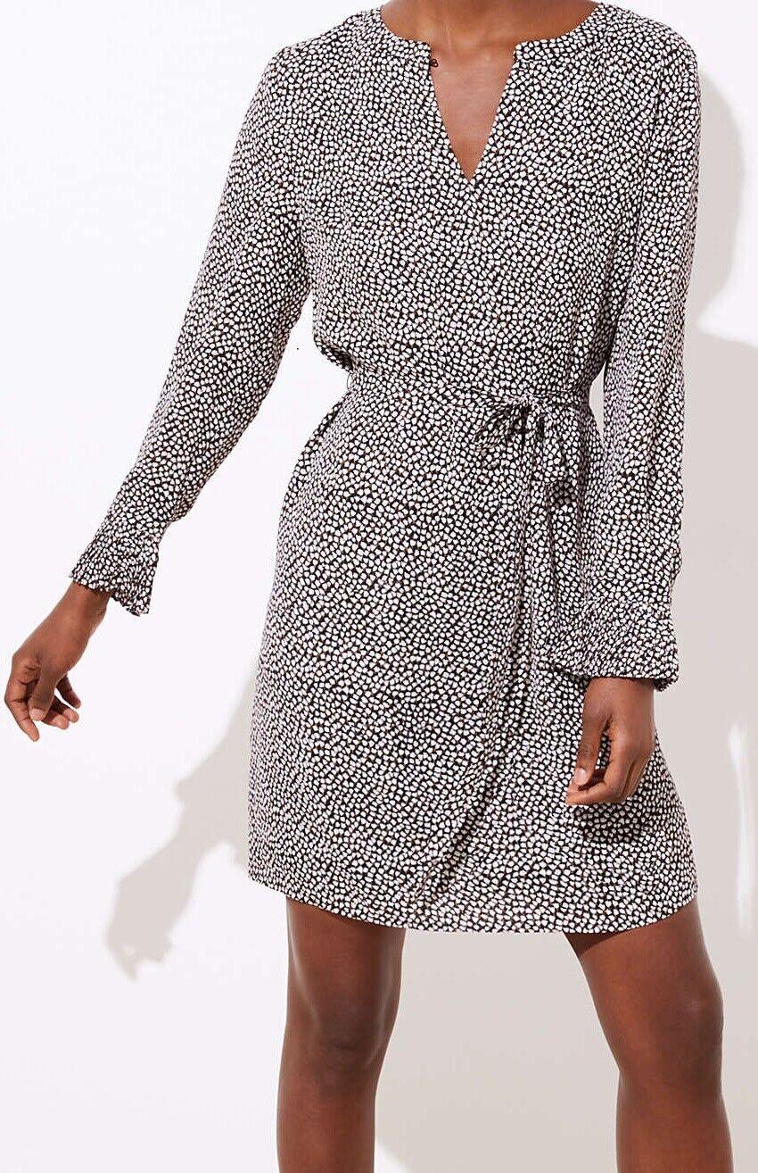 Ann Taylor LOFT Floral Pleated Cuff Dress Größe Medium Petite, Large NWT schwarz