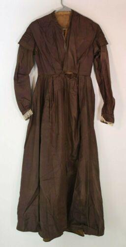 Victorian 1860's Brown Fancy Silk Dress /  Gown -