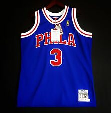 100% Authentic Mitchell & Ness Allen Iverson Sixers blue NBA Jersey Size 48 XL