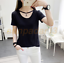 2017-Women-Short-Sleeve-Hollow-Round-Neck-T-Shirt-Casual-Loose-Tops-Blouse-NewW thumbnail 5