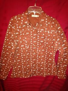 Western-Women-039-s-Med-Rockies-Brown-Long-Sleeve-Snap-Button-Blouse