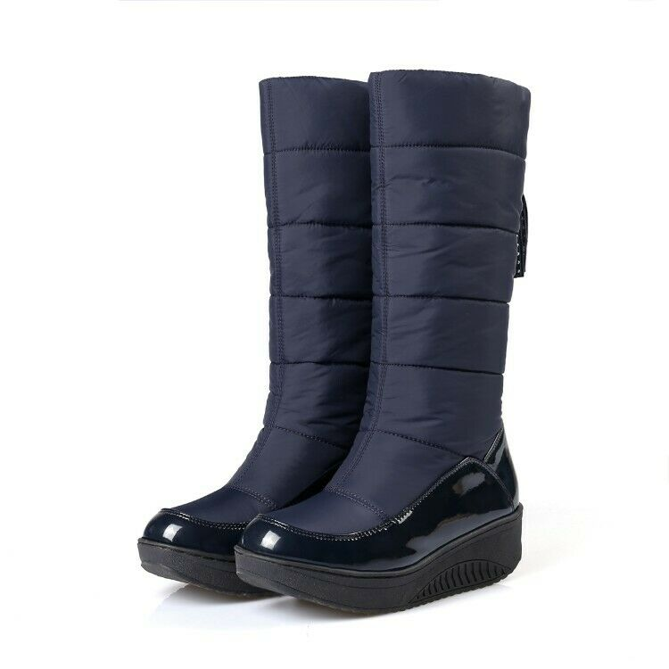 Riding Motorcycle Pull On Women Mid Calf Boots Tassel Warm Snow Boots Outdoor