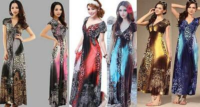 Cocktail Evening Summer Beach Party long maxi Dress leopard Slim Sexy size 8-20