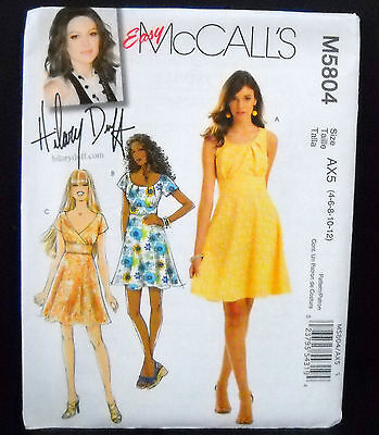 McCalls Pattern #M5804 Misses Lined Dresses Hilary Duff Design Size(4-6-8-10-12)