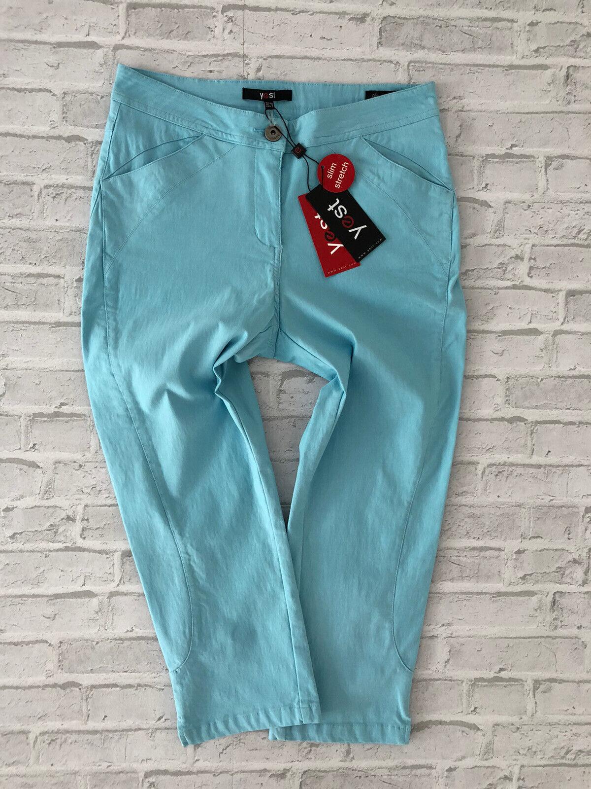 YEST Damen Shorts Capri Bermuda kurze Stoffhose blau slim stretch fit neu Gr. 38