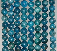 8MM APATITE GEMSTONE GRADE A  ROUND 8MM LOOSE BEADS 15.5""