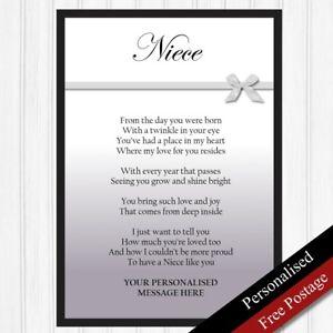Image Is Loading Niece Gift Personalised Birthday For Keepsake