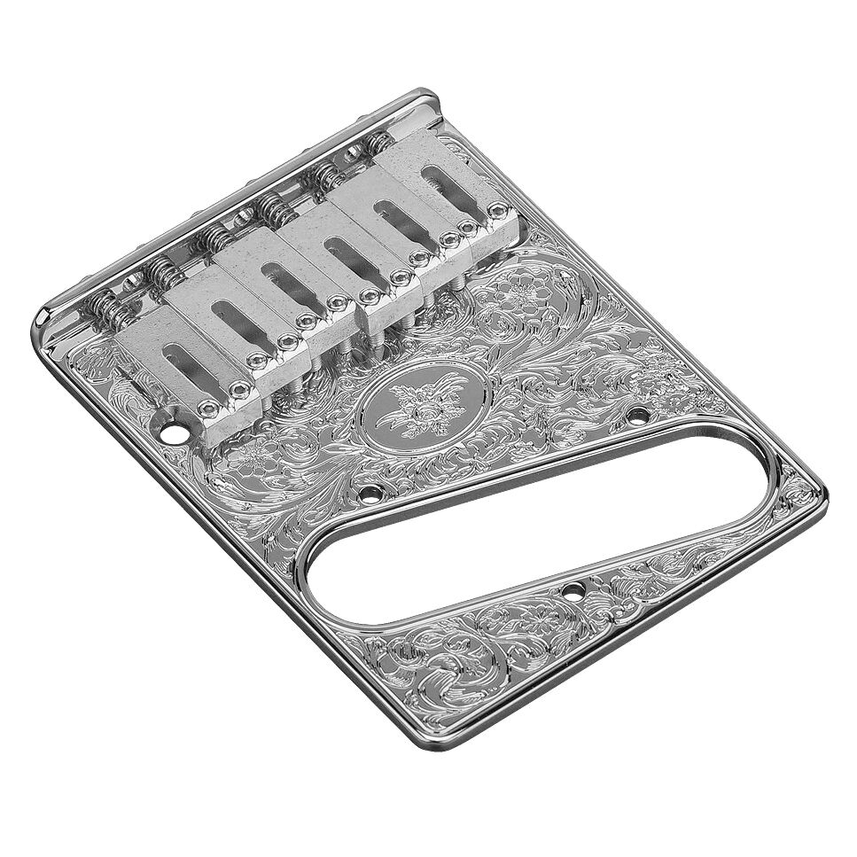 Gotoh GTC-ART-02 Engraved Adjustable Saddle Bridge for Telecaster Tele - CHROME