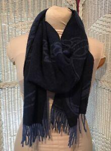 RLL Ralph Lauren wool navy Blue scarf Equestrian Horse