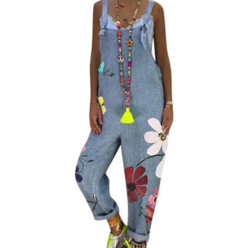 BOHO Women Long Playsuit Jumpsuit Ladies Summer Romper Floral Trousers Plus Size