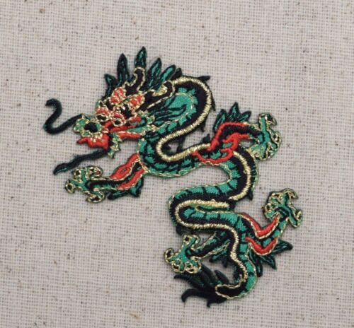 Iron On Embroidered Applique Patch Chinese Green//Red Dragon Facing LEFT SMALL