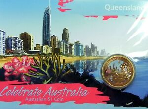 2009-1-CELEBRATE-AUSTRALIA-QUEENSLAND-Coin-on-Card