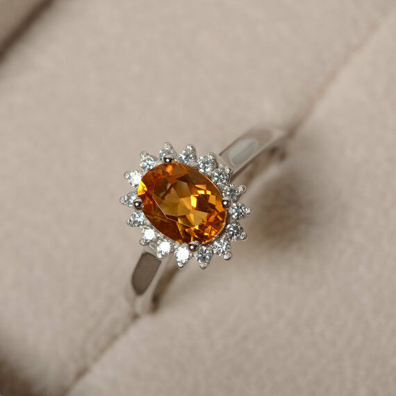 14K White gold Rings 1.80 Ct Oval Cut Citrine Diamond Wedding Ring Size 8.5 6
