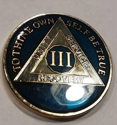 Rich Midnight Blue Enamel 43rd Year XLIII 43 Year AA Sobriety Coin Medallion