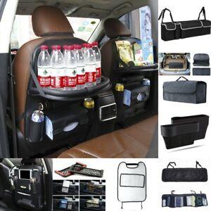 Car-Seat-Back-Bag-Organizer-Storage-Phone-Holder-Multi-Pocket-Leather-Black-New