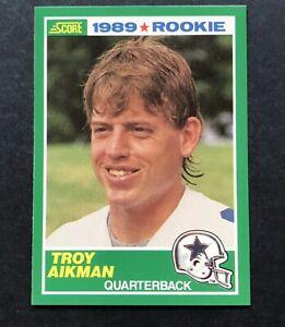 1989-Score-270-TROY-AIKMAN-ROOKIE-Dallas-Cowboys-Football-Card-Nice