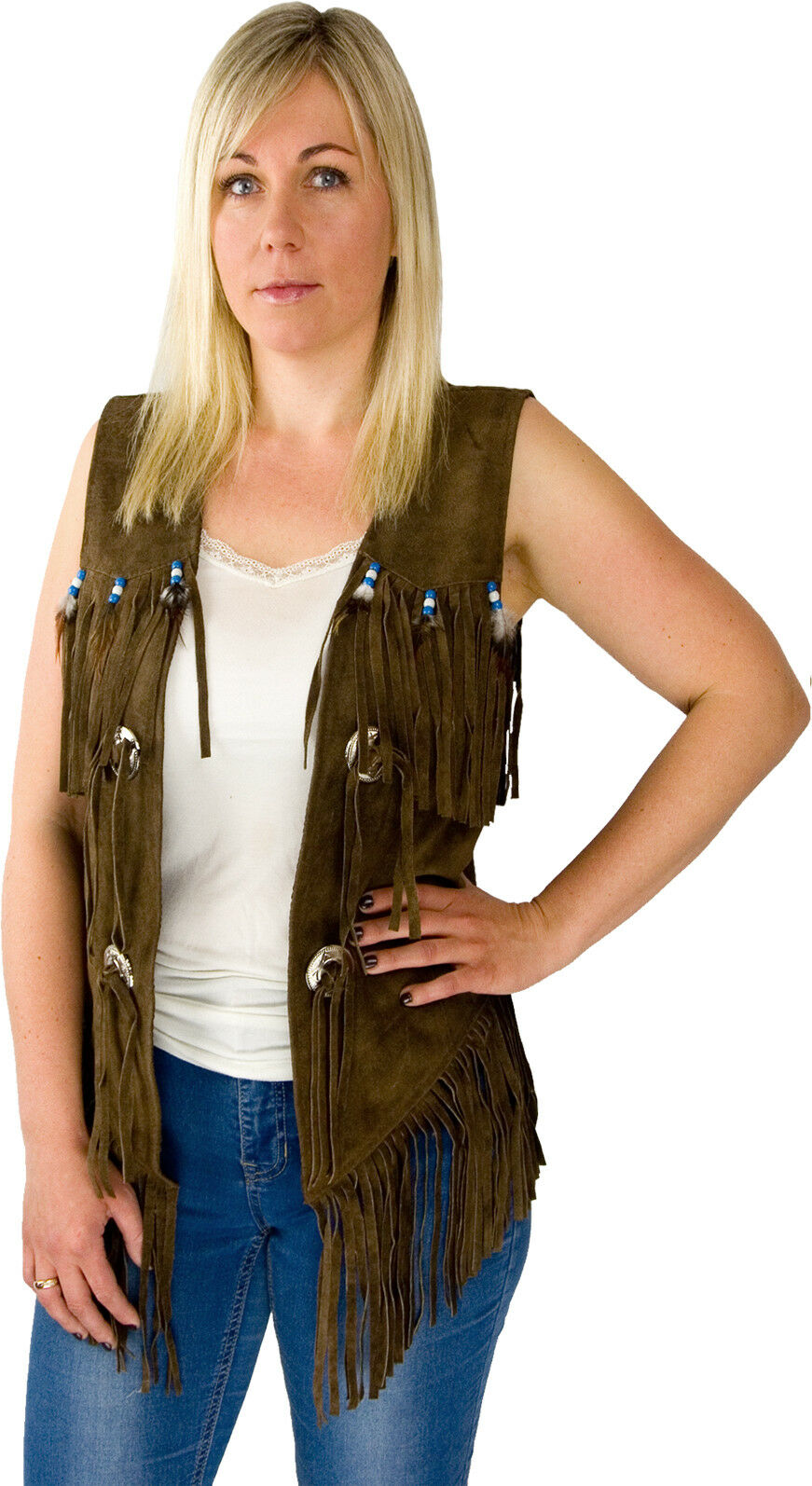 Ladies Leather Vest Cowl Suede Suede Suede Vest Concha Fringes Feather Western Country Lady 0cd686