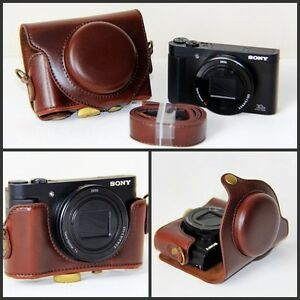 coffee leather camera case bag for sony cyber shot dsc. Black Bedroom Furniture Sets. Home Design Ideas