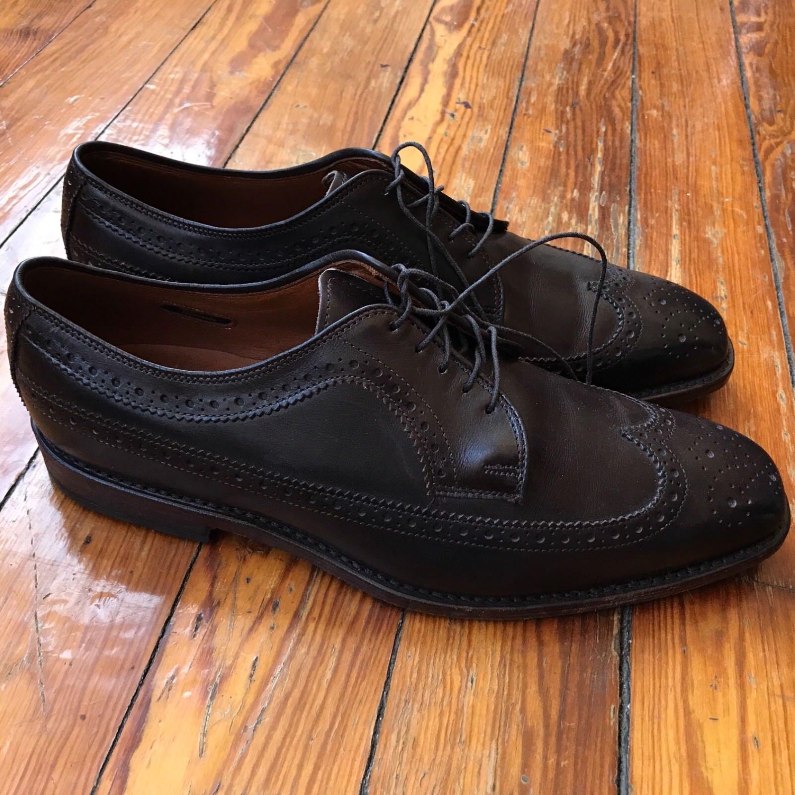 Allen Edmonds 'Larchmont' Brown Wingtip shoes Men's 9.5 D Made in USA Exc Cond