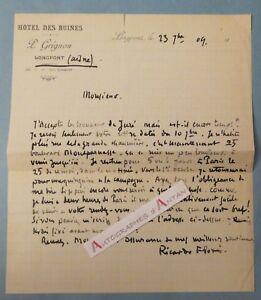 L-A-S-1909-Ricardo-FLORES-Peintre-LONGPONT-Aisne-Hotel-des-ruines-Lettre-LAS