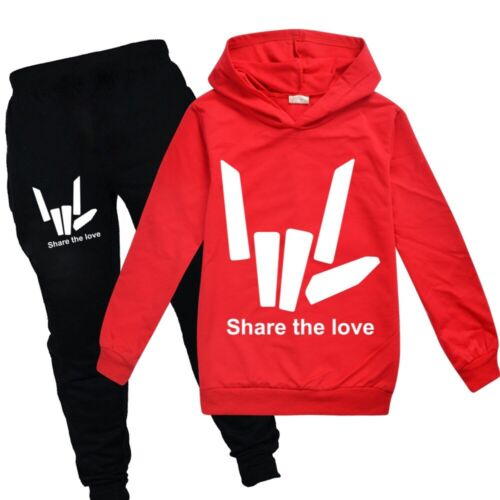 Kids Boys Girls Share the love Hooded Top+Pant Pullover Spring Sport Tracksuit
