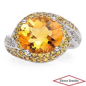 Estate-Diamond-Citrine-Yellow-Sapphire-14K-Gold-Bypass-Cocktail-Ring-6-3-Gram-NR