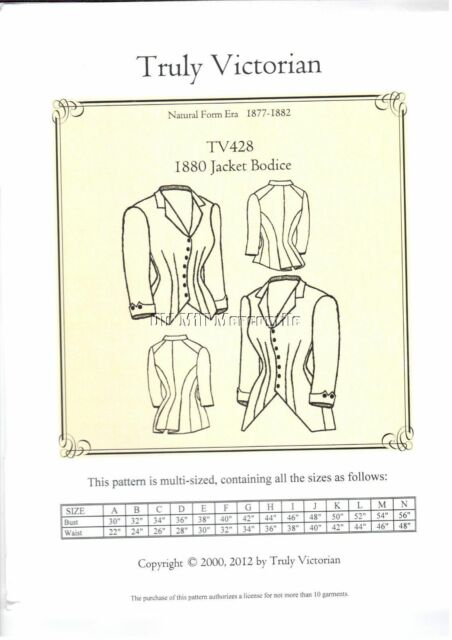 Truly Victorian Ladies 1880 Jacket Bodice Sewing Pattern Tv 428 Bust