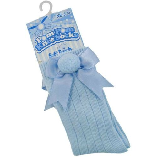 Baby Girl Bow Knee Socks with PomPom in Blue Trad//Romany -- White /& Pink