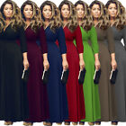 Women Elegant V Neck 3/4 Sleeve High Waist Evening Long Maxi Dress Plus Size