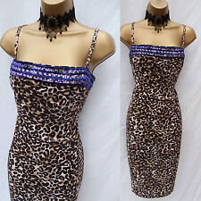 KAREN MILLEN Brown Animal Print Jewell Cocktail Cruise Wiggle Pencil Dress SZ 12