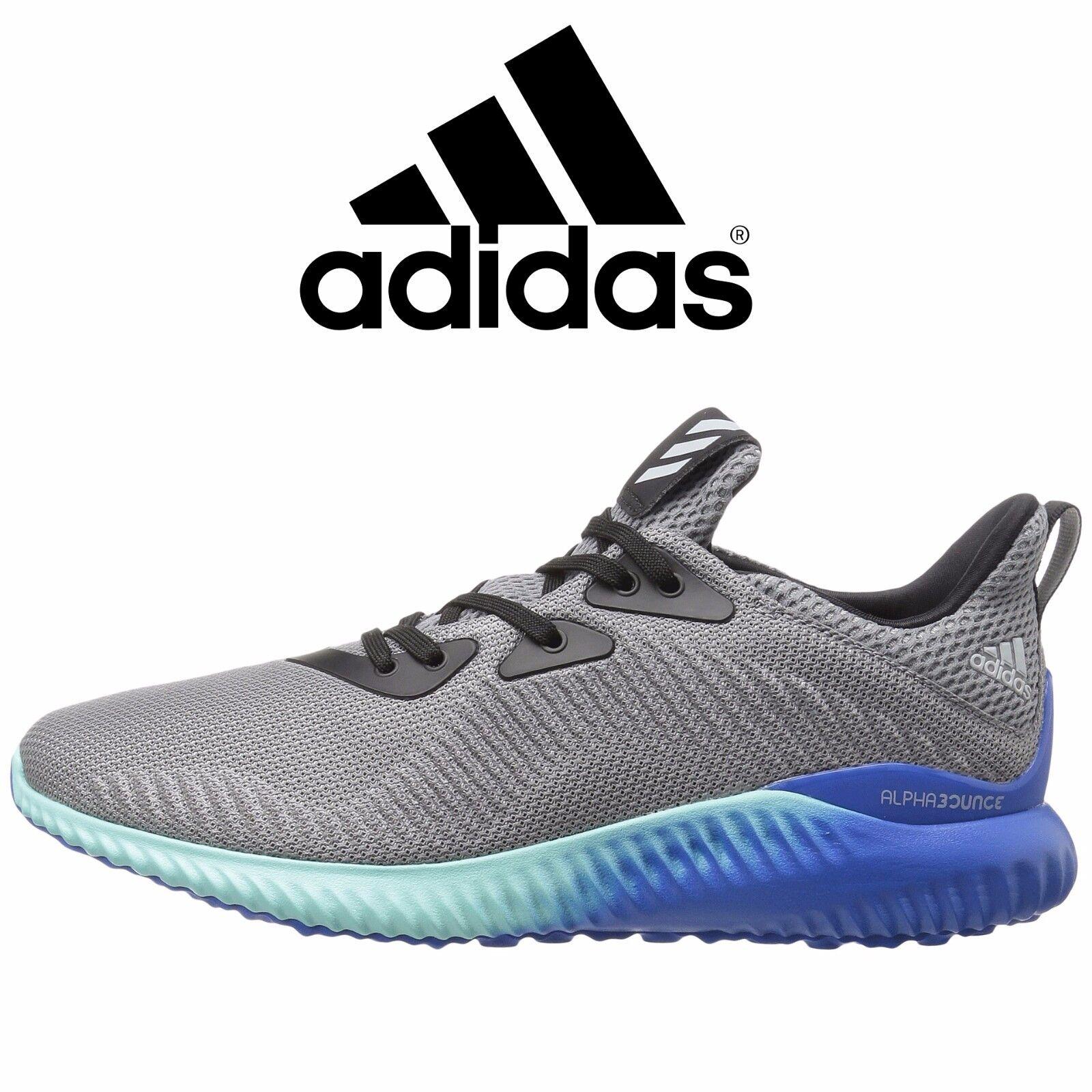 Mens Adidas AlphaBOUNCE Running Shoes Grey Onix Aqua All Sizes NEW