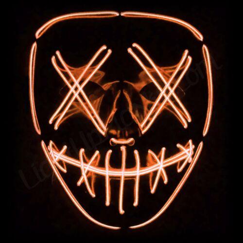 Light Up Masks Stitched LED Costume Mask Halloween Rave Cosplay Edm Purge