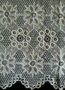 Antique-Lace-Trim-Wide-Panel-Needle-Edging-Flounce-Rustic-10-034-Vtg-Costume-Sewing