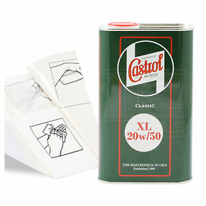 Engine-Oil-Top-Up-1-LITRE-Castrol-Classic-XL-20W-50-20W50-1L-Gloves-Funnel