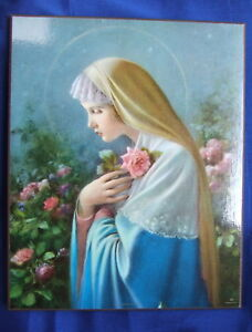 Catholic-Wood-Plaque-Virgin-Mary-MYSTICAL-ROSE-picture-by-artist-SIMEONE-8x10-034